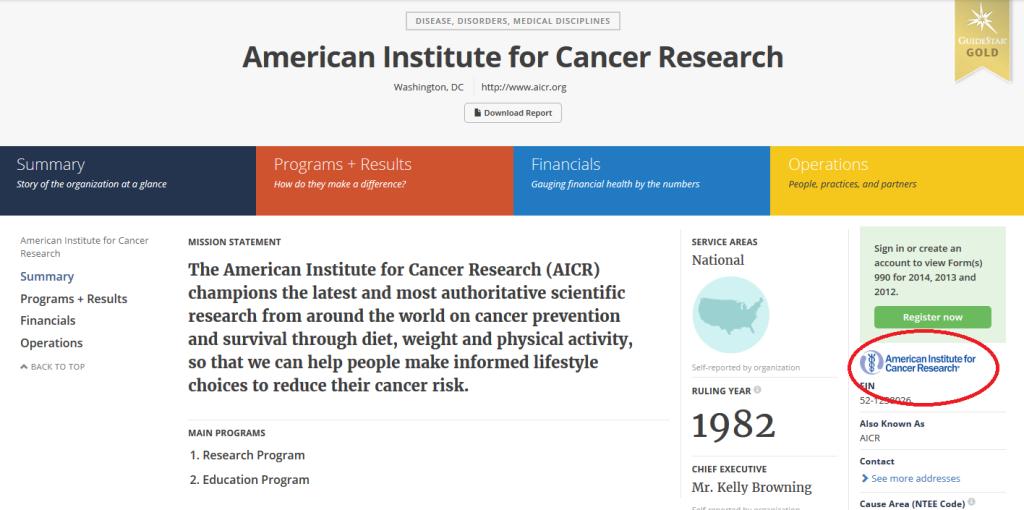 Guidestar AICR screenshot_Logo