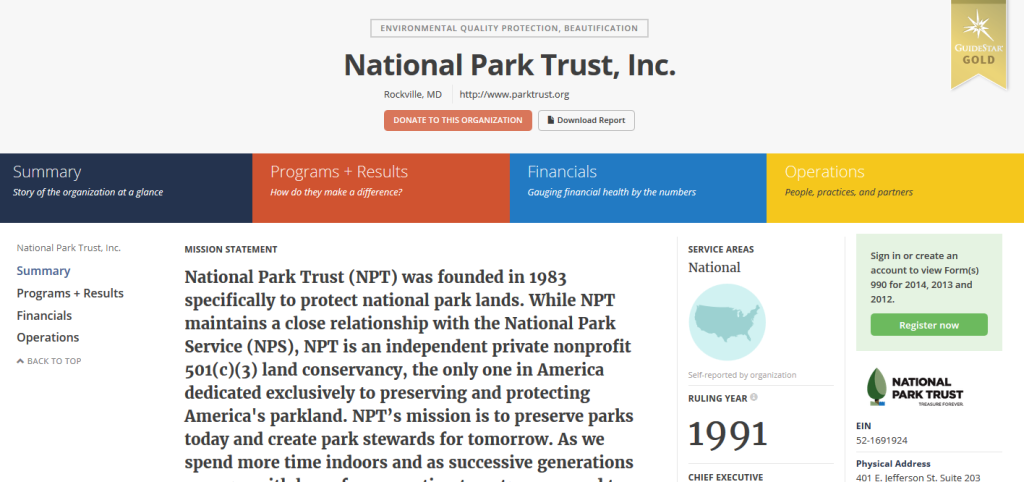 Screenshot of Williams Whittle client National Park Trust's Guidestar page