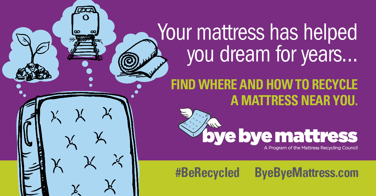 Social media creative with a mattress thinking of all the items it could become when recycled. The text reads 'Your mattress has dreamed for years... Find where and how to recycle a mattress near you.'