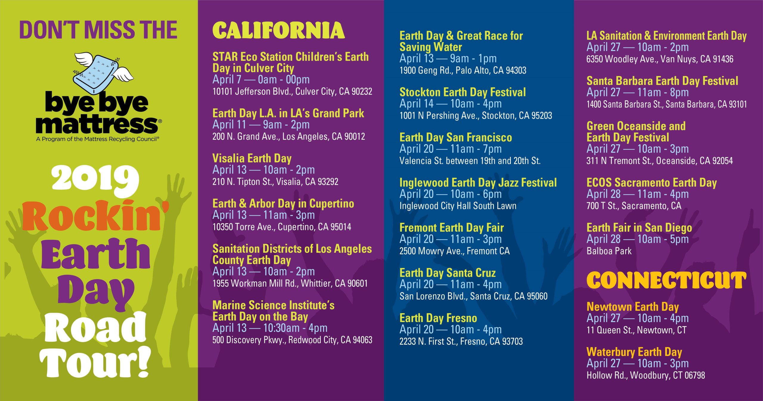 Social media creative listing the events, locations, dates and times of Earth Day events for the Rockin' Earth Day Road Tour.