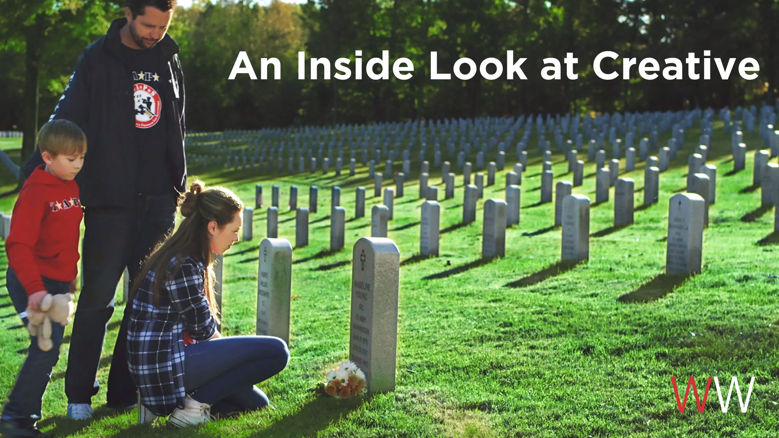 "Man, girl and little boy at a gravesite in a cemetary. The text laid over the image reads ""An inside look at creative."""