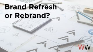 "Image of sketches of a logo with the text layed on top of the image that reads- ""Brand Refresh or Rebrand."""