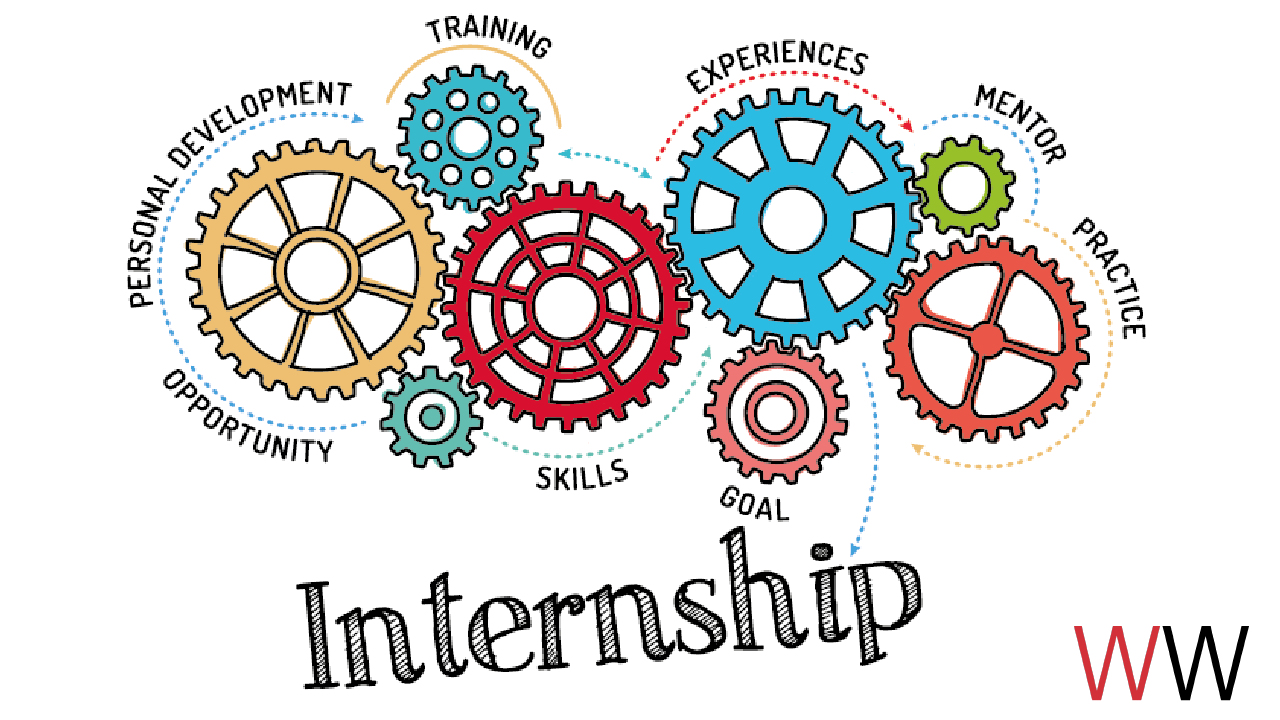 "Wheels and gears with the word ""internship"" underneath."